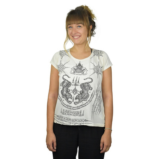 Thai Tempel Tattoo Women Shirt Tiger weiss M